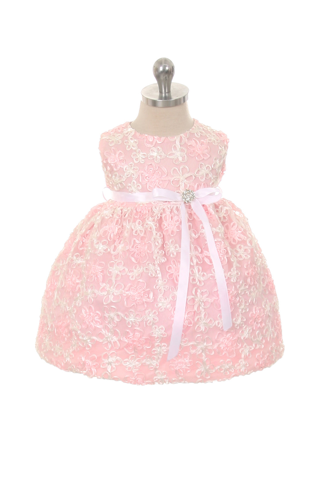 Satin Flower Embroidered Baby Dress