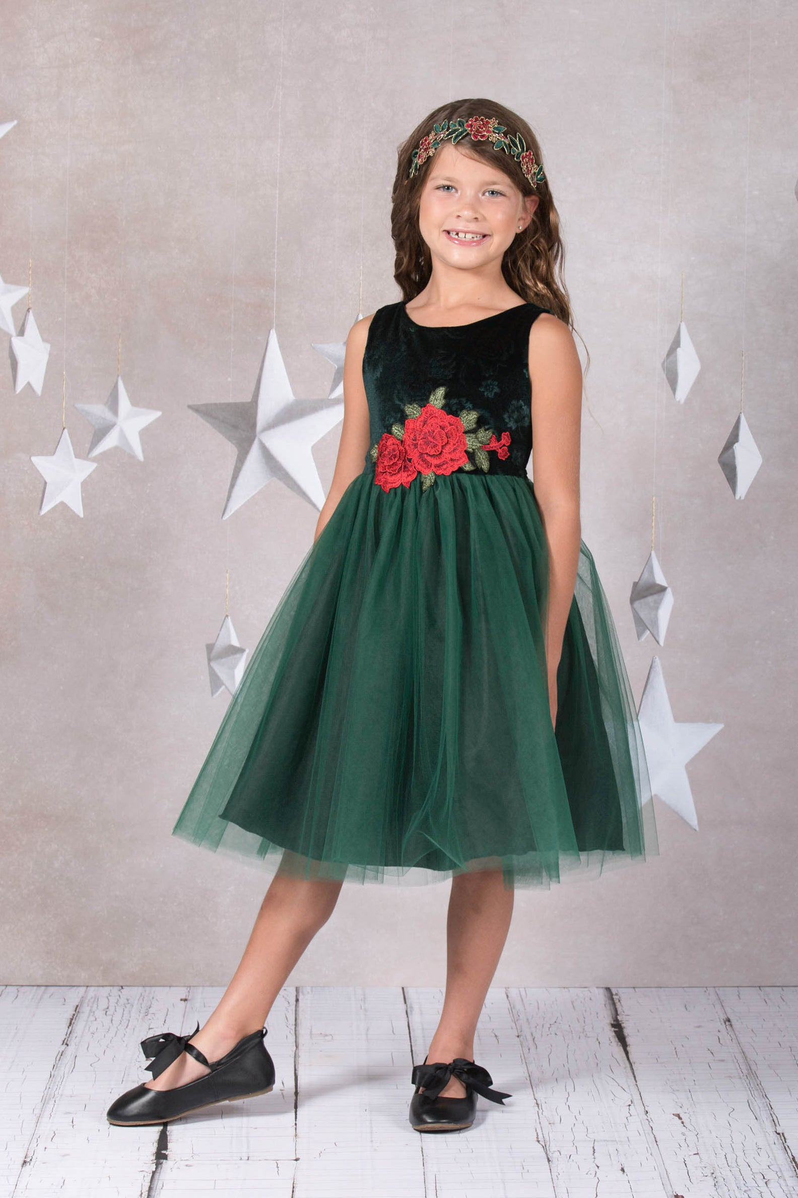Velvet Rose Patch Girl Dress
