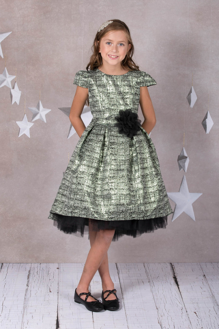 Peek-A-Boo Tulle High Low Girl Dress-Metallic Tweed
