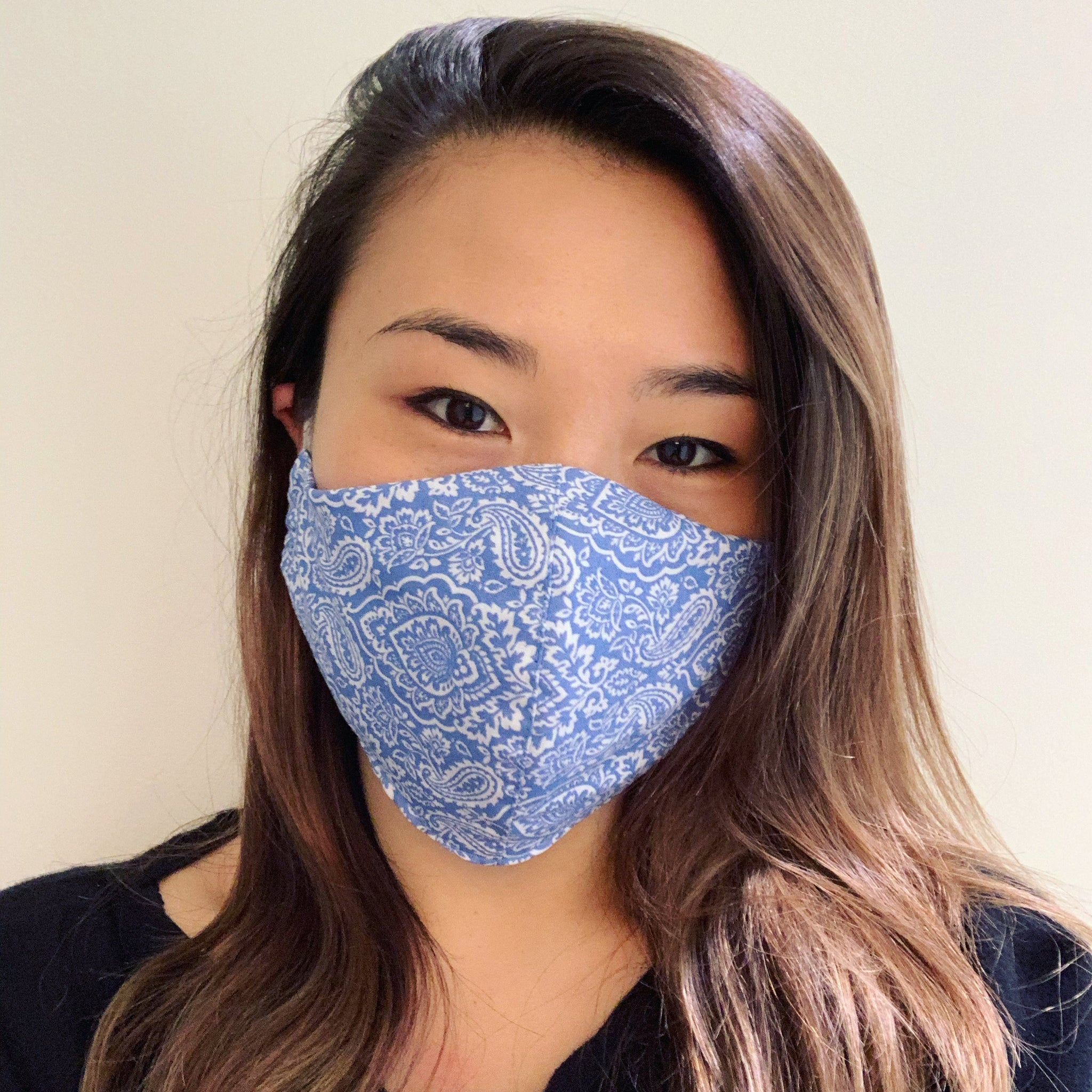 Blue Damask Face Mask with Filter