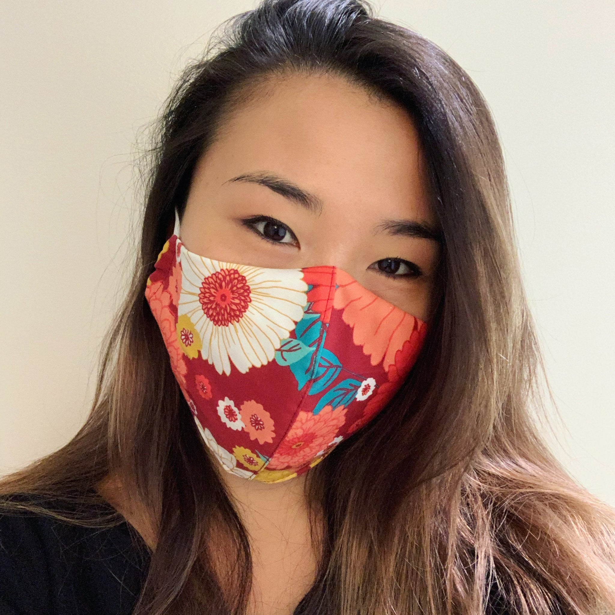 Burgundy Flower Face Mask with Filter
