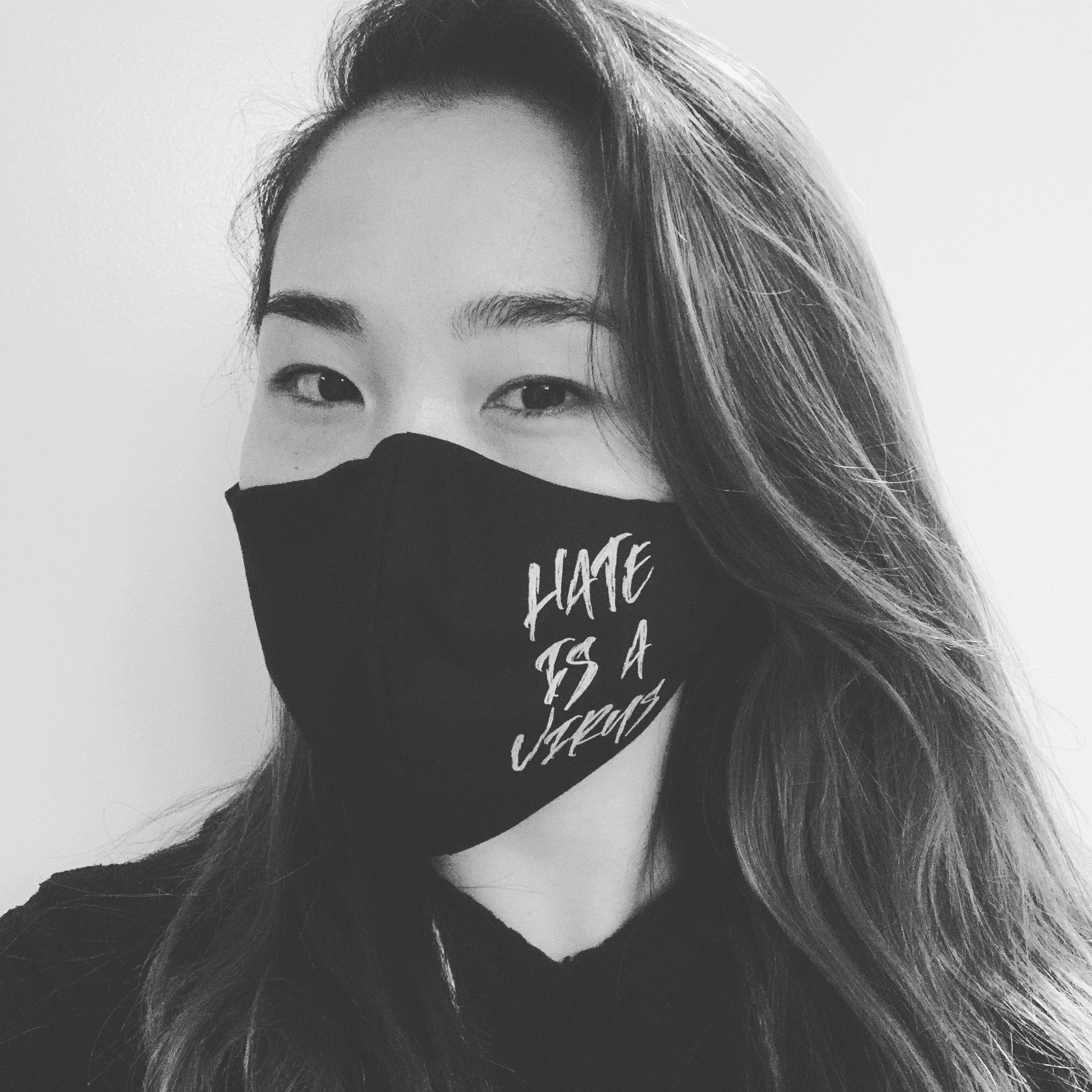 Hate is a Virus Face Mask with Filter (Black & Pink)