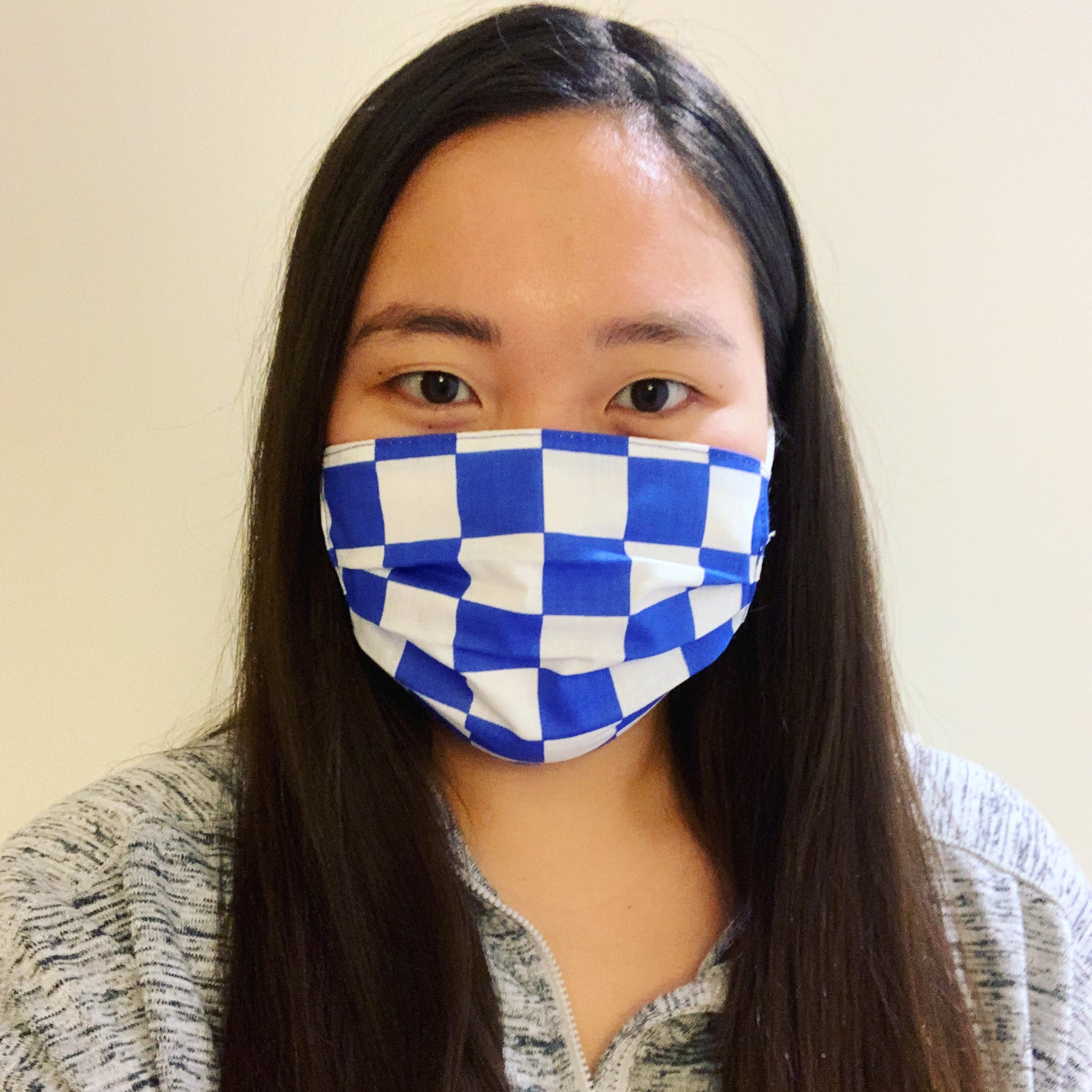 Blue Checkers Face Mask