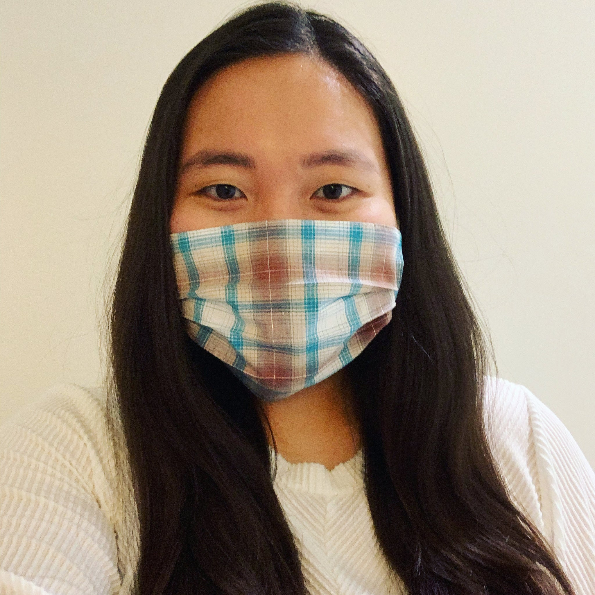 Brown/Turquoise Plaid Face Mask