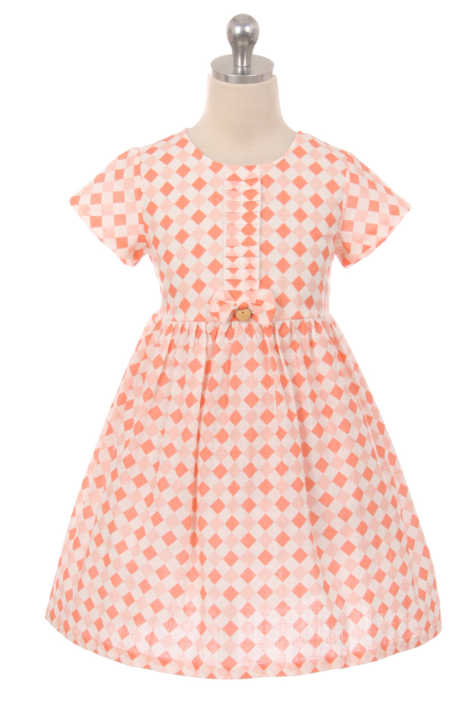 Square Checkered Cotton Girl Dress