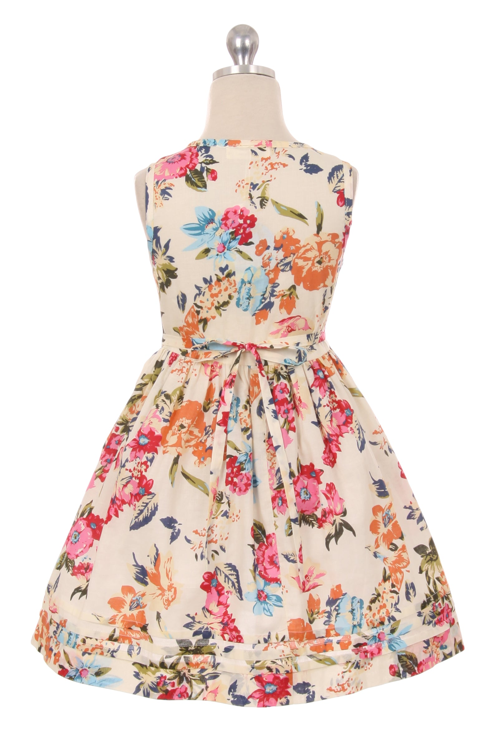 Bold Floral Print Button Cotton Summer Dress