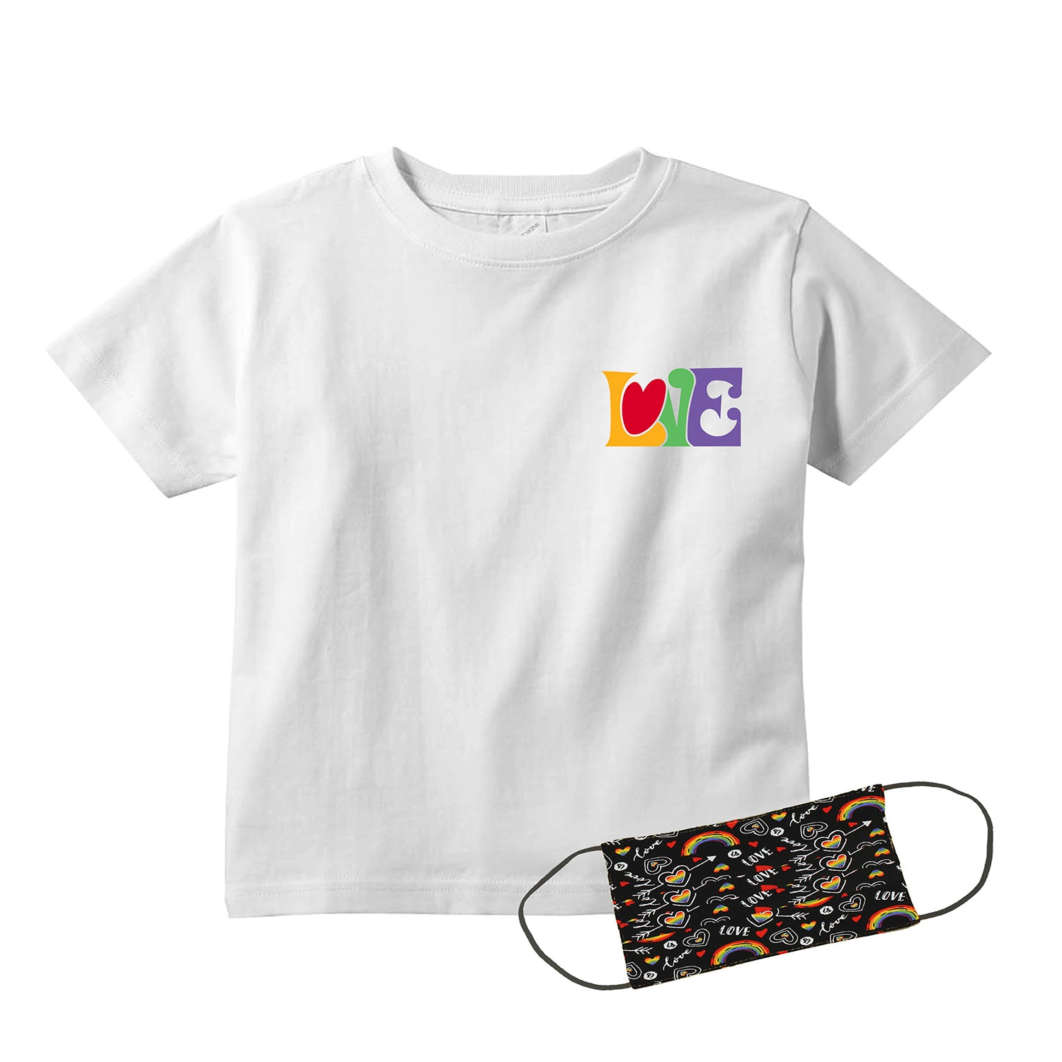 Hippie Love Kids T-Shirt + FREE Love is Love Pride Face Mask