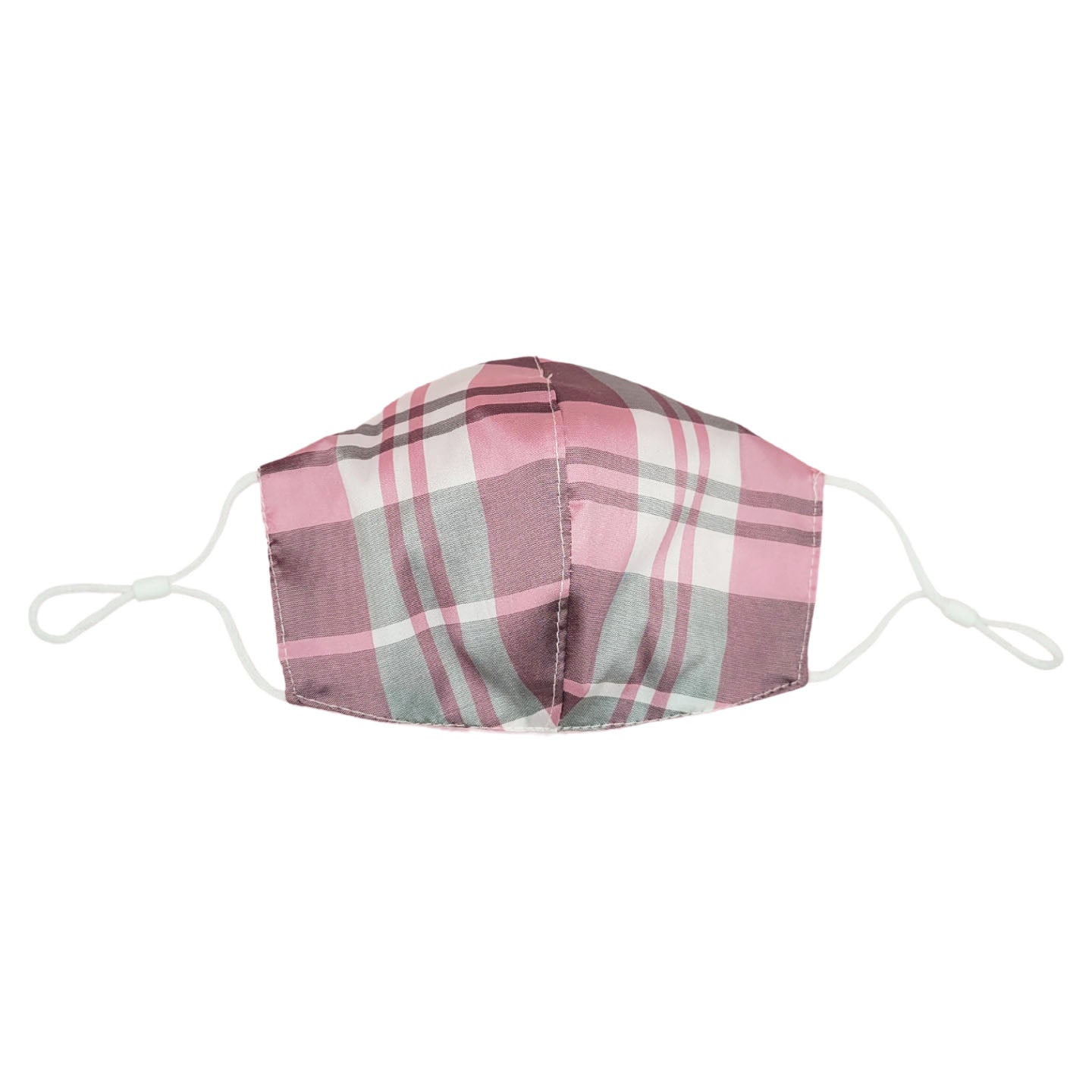 Pink Plaid Taffeta Face Mask with Filter