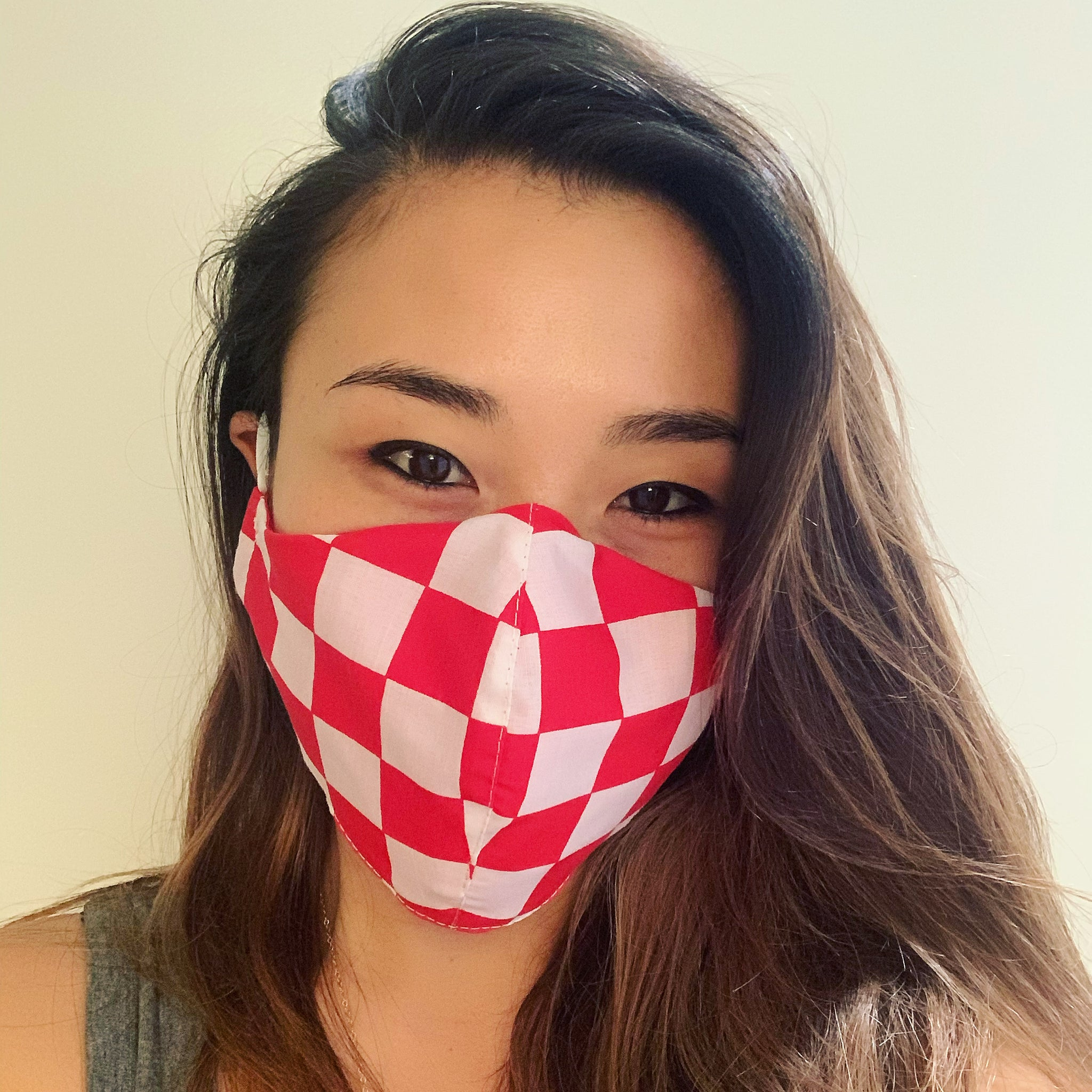 Red Checkers Face Mask with Filter
