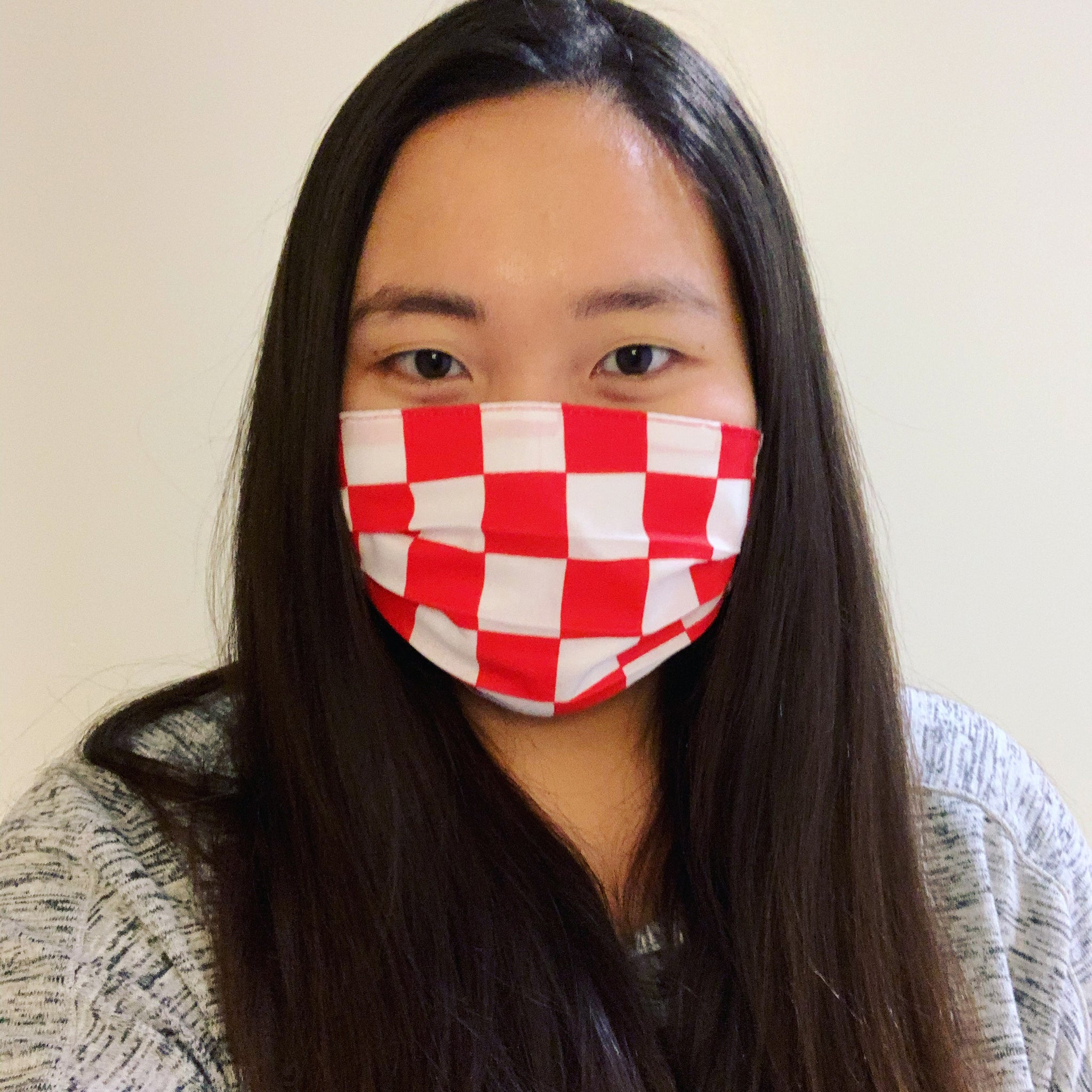 Red Checkers Face Mask