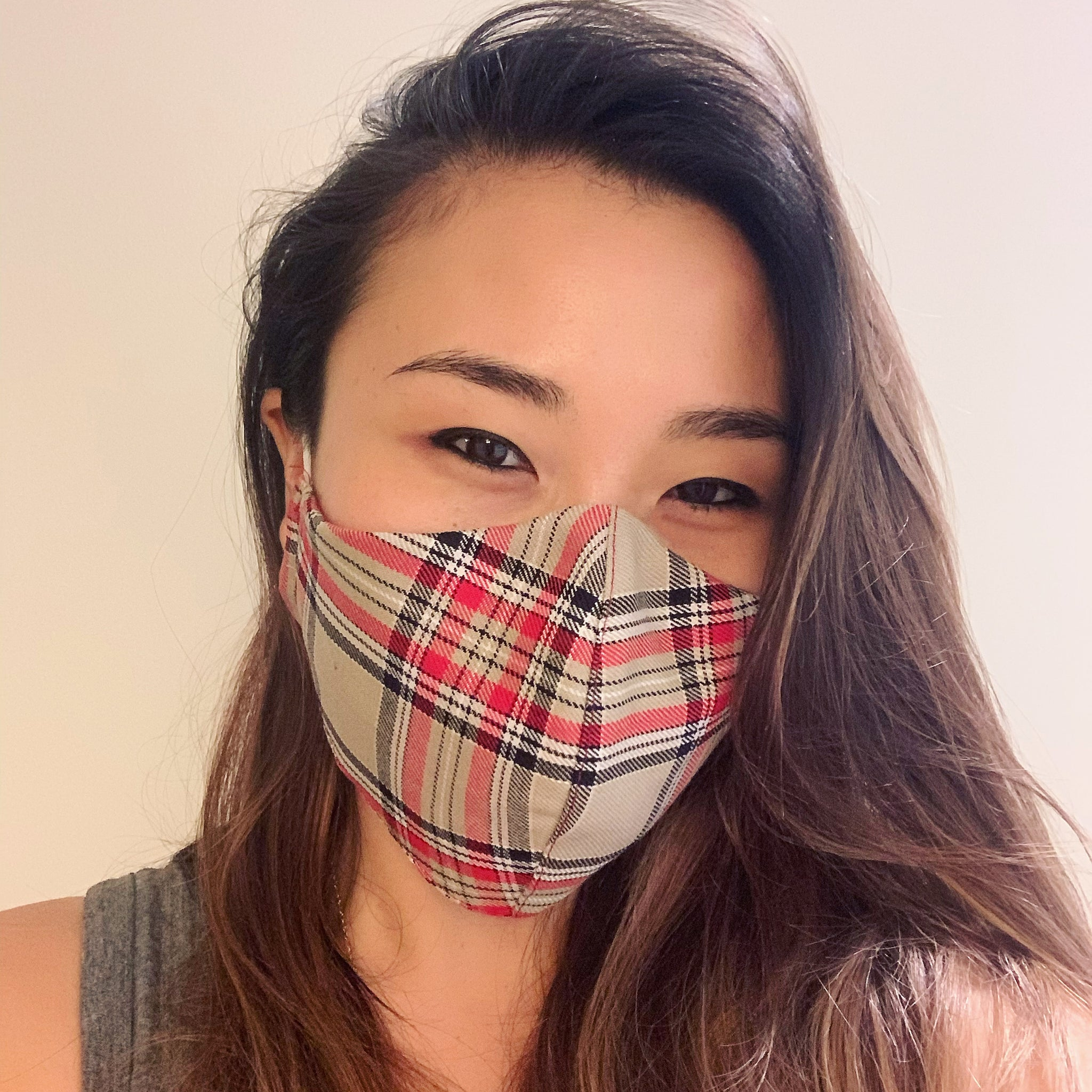 Tan Plaid Face Mask with Filter