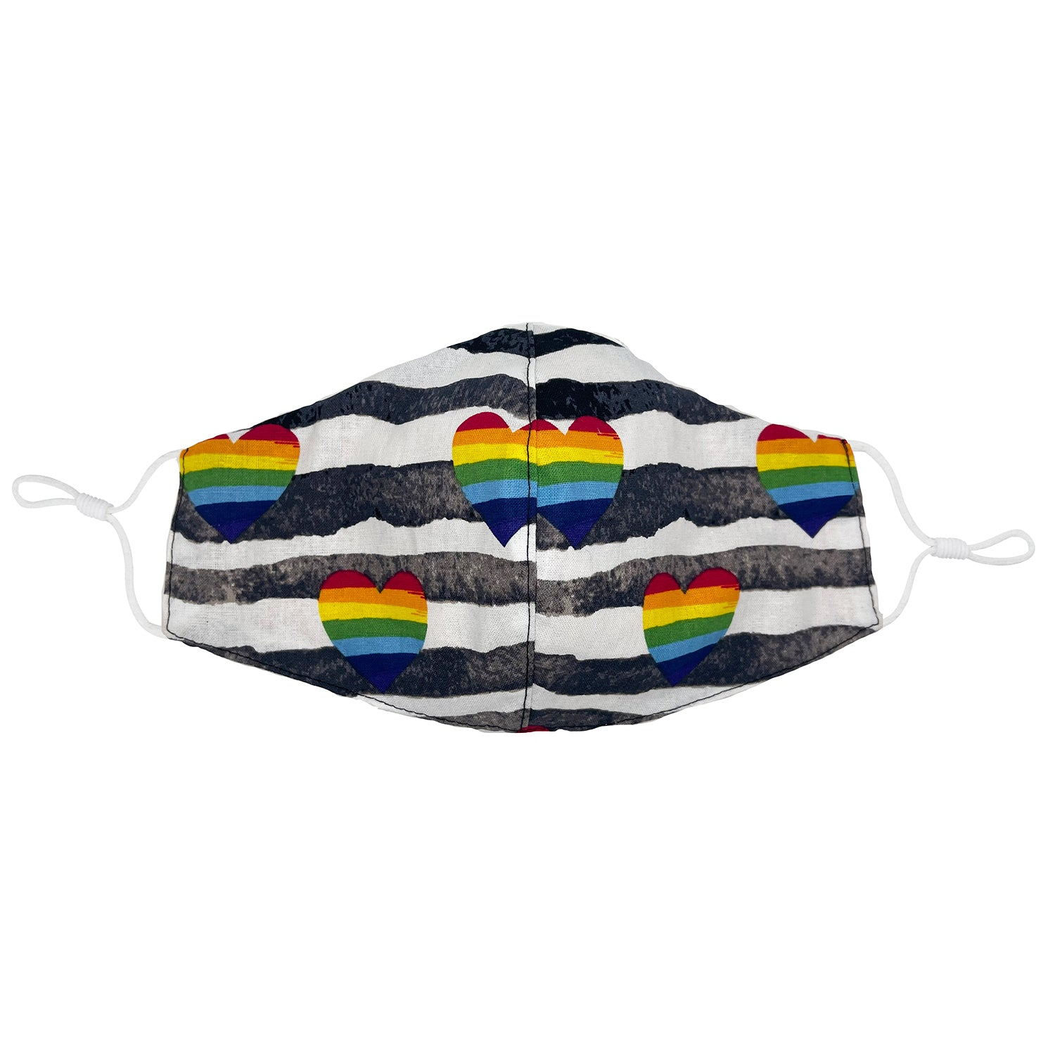Pride Rainbow Heart with Distressed Stripe Face Mask with Filter