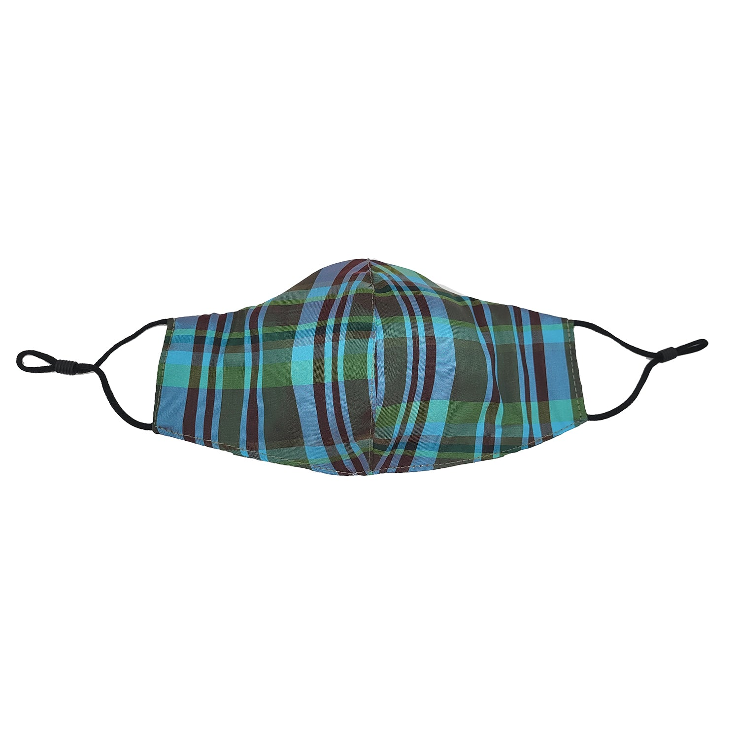 Blue/Green Plaid Taffeta Face Mask with Filter