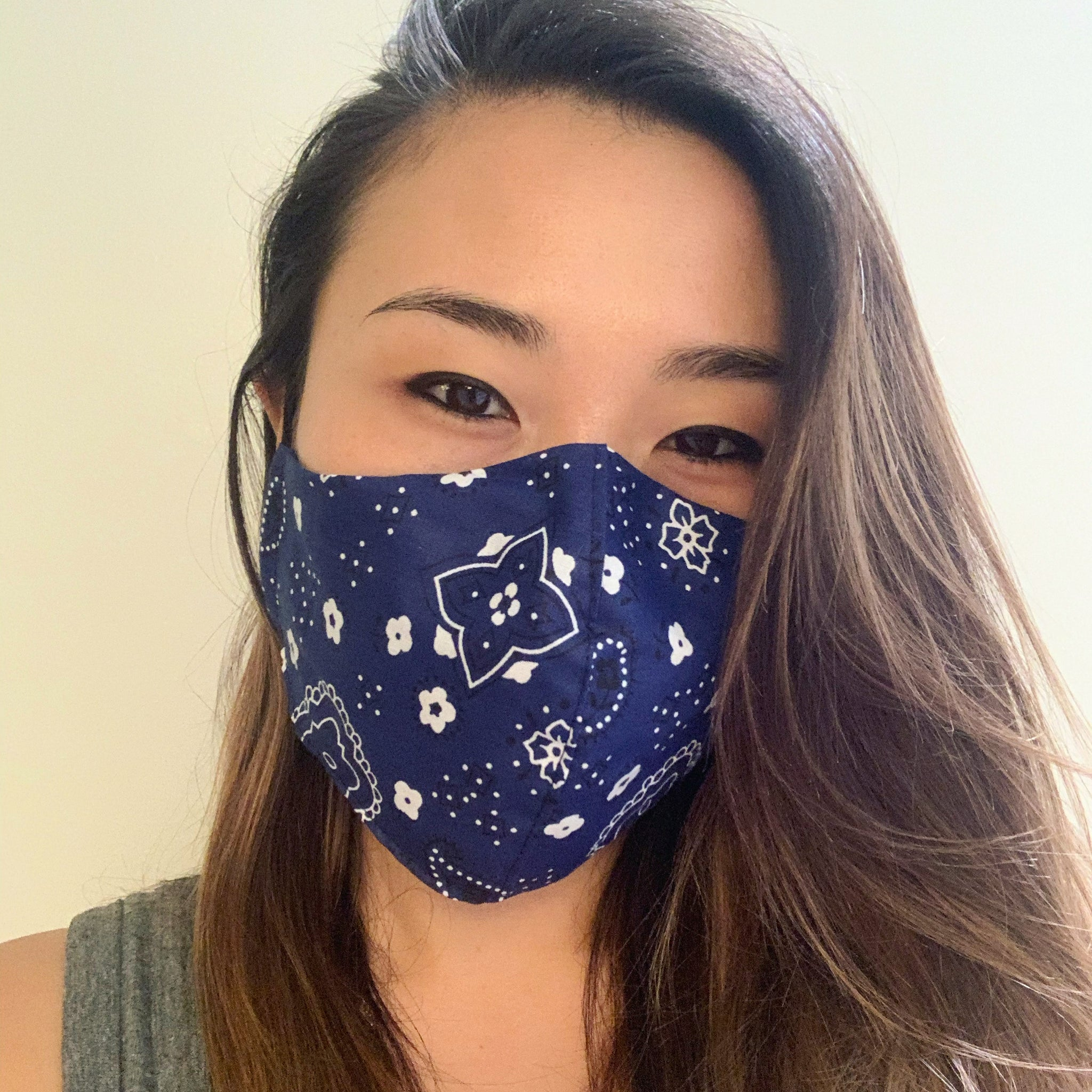 Blue Bandana Face Mask with Filter