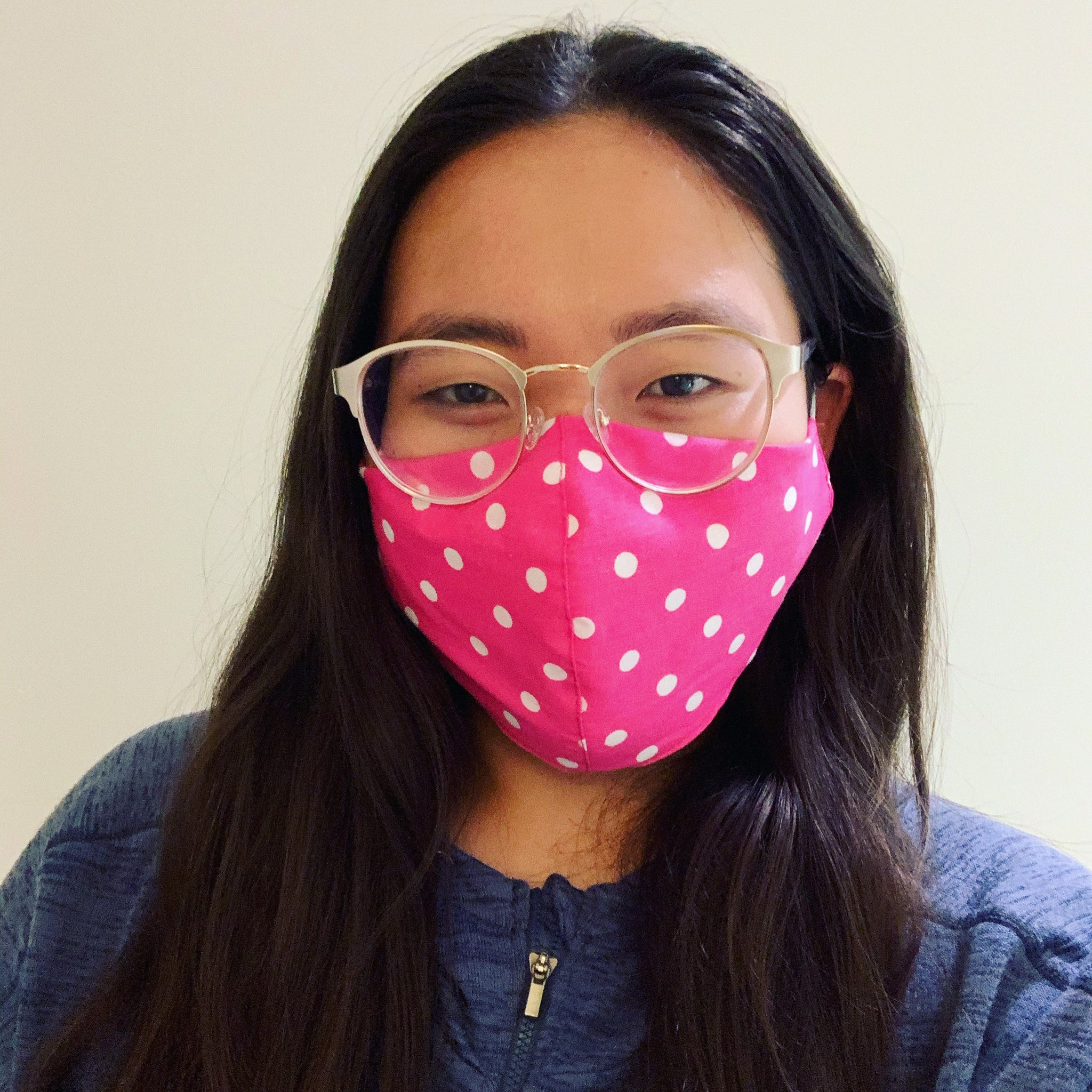 Fuchsia Polkadot Face Mask with Filter