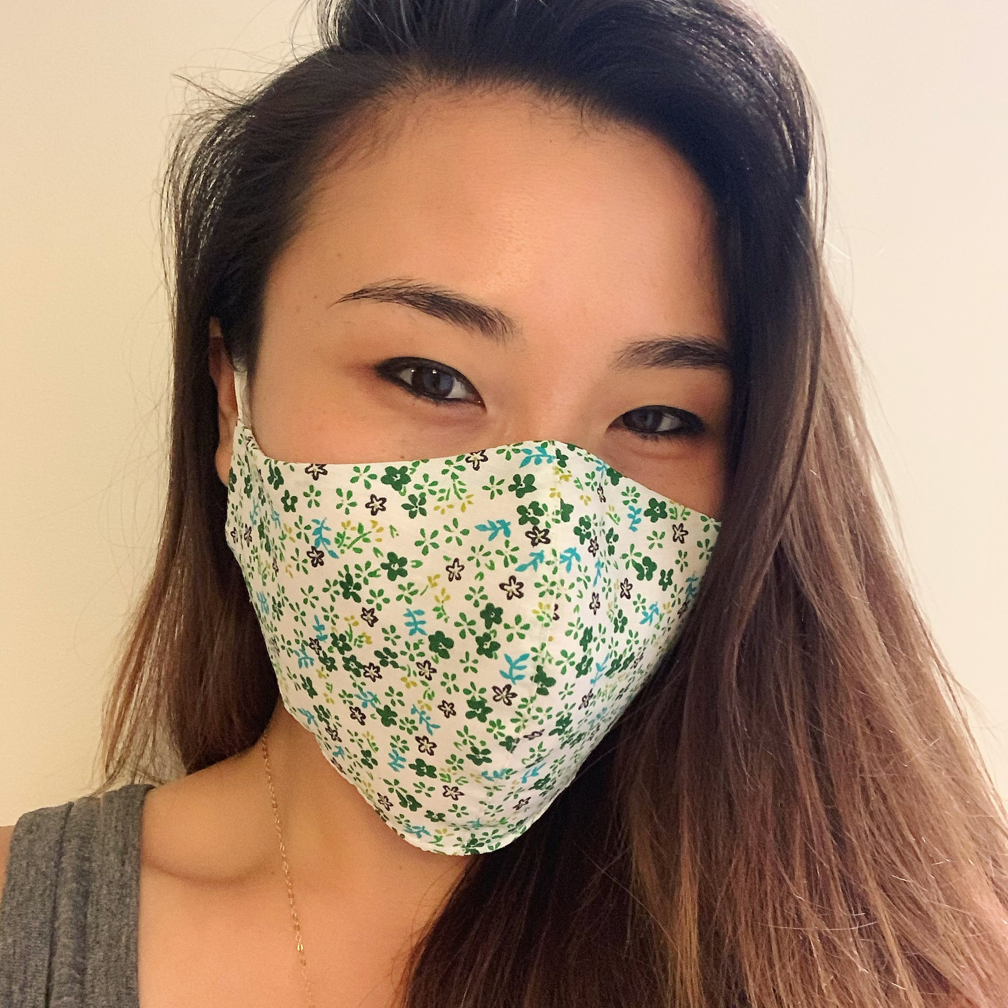 Green Floral Medley Face Mask with Filter
