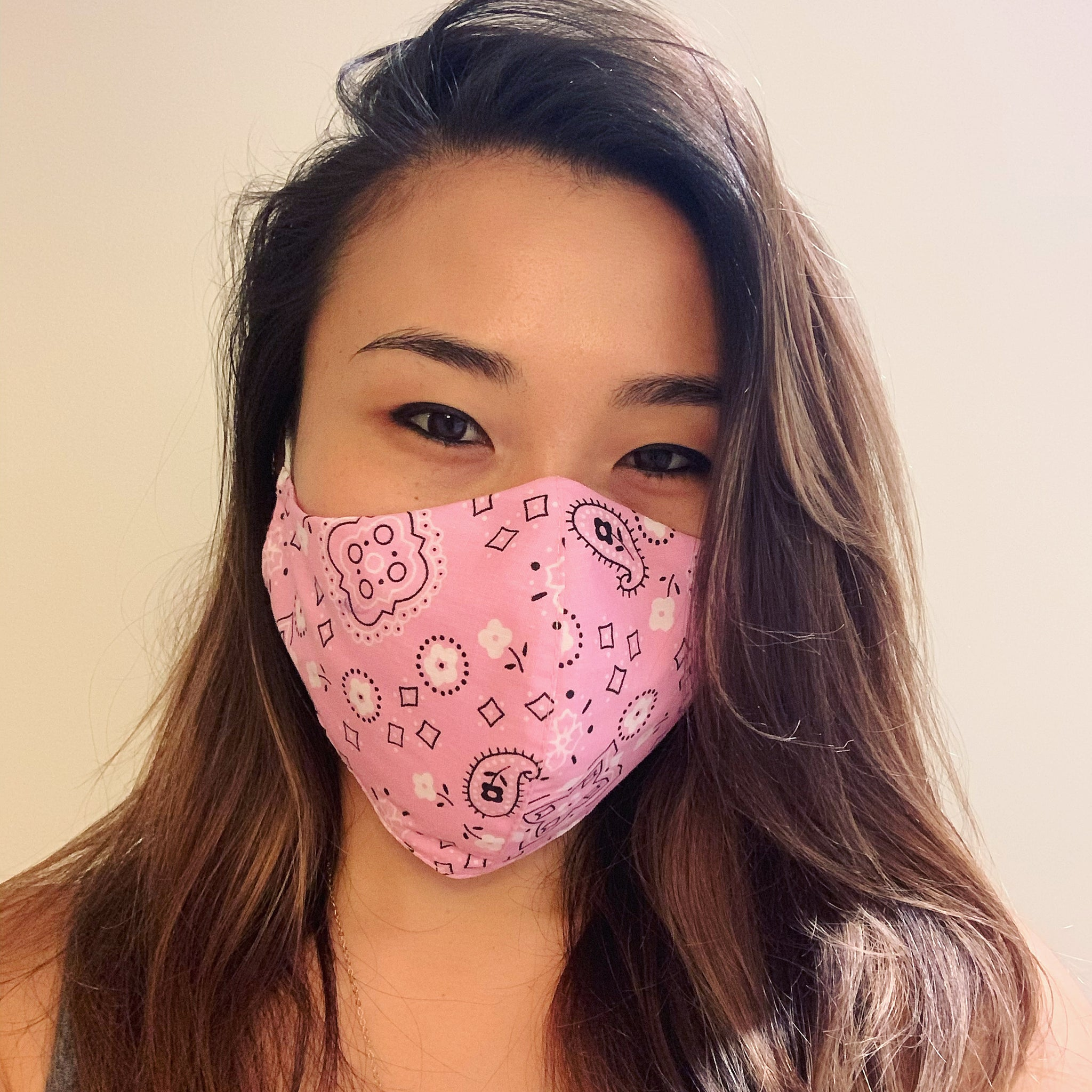 Pink Bandana Face Mask with Filter