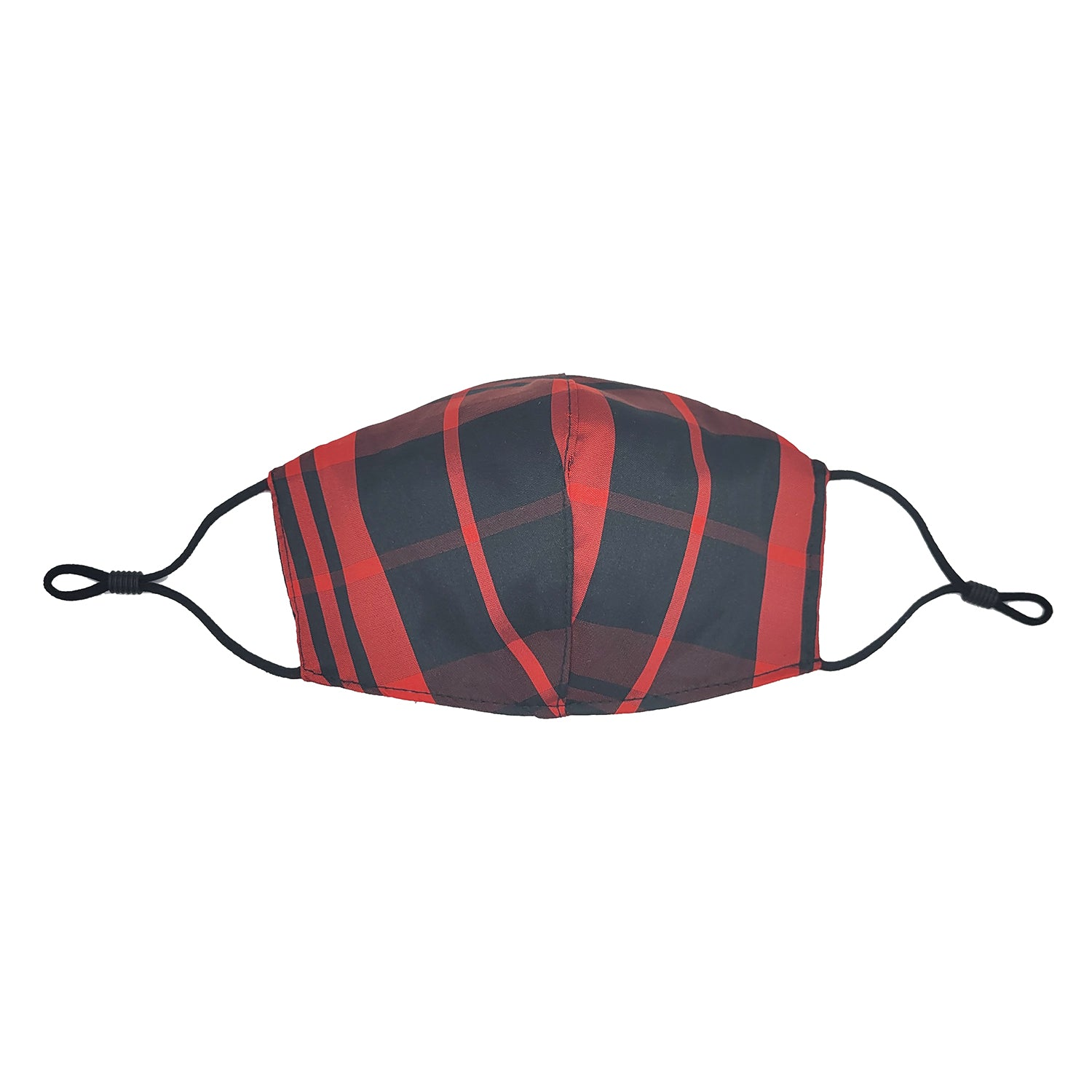 Red Plaid Taffeta Face Mask with Filter