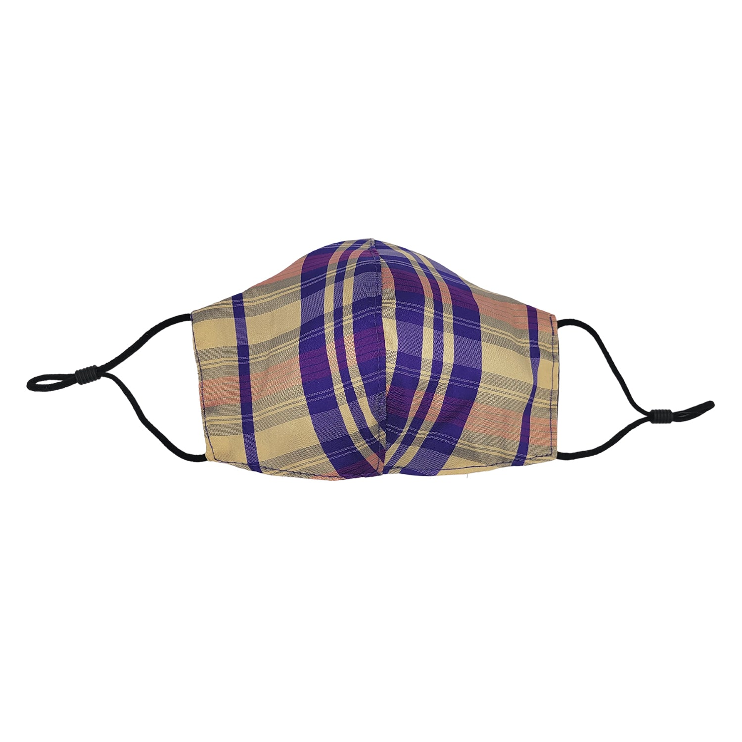 Tan/Purple Plaid Taffeta Face Mask with Filter