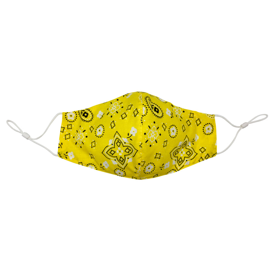 Yellow Bandana Face Mask with Filter
