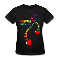 Casual Women O-Neck Autism Awareness T-Shirts in Multiple Color Options-AUTISMAG Store