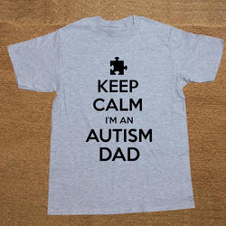 Keep Calm Autism Dad Summer T Shirt Men Short Sleeve Printed O-neck Cotton-Autism Clothing-AUTISMAG Store