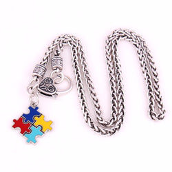 Multi-Colored Enamel Puzzle Piece Pendant with Wheat link Chain necklace for Autism Awareness-Autism Accessories-AUTISMAG Store