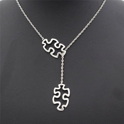 Tibetan Silver Autism Puzzle Piece Jewellery Pendant with Necklace-Autism Accessories-AUTISMAG Store