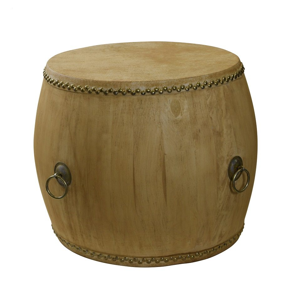 Natural Drum With Gold Studs and Gold Handles