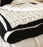 Allure Velvet & Natural Linen Quilt - King, Black