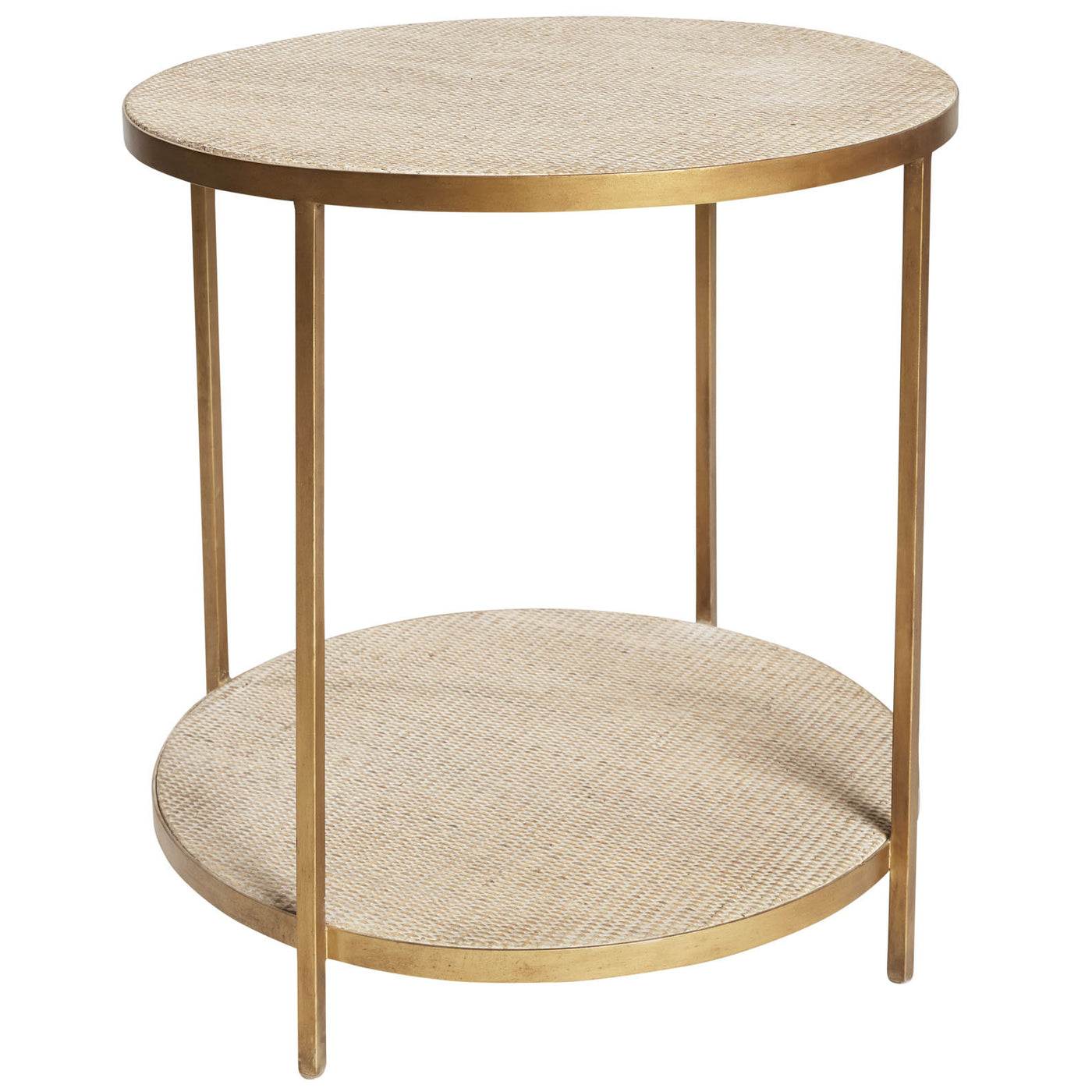 Gold Iron and Rattan Side Table