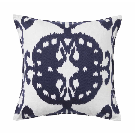Ikat White/Navy Cushion 50x50