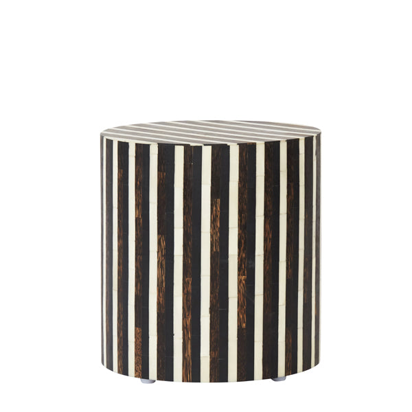 Stripe Bone Inlay Side Table