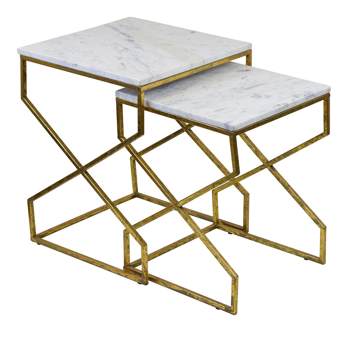 Gold and Marble side tables set