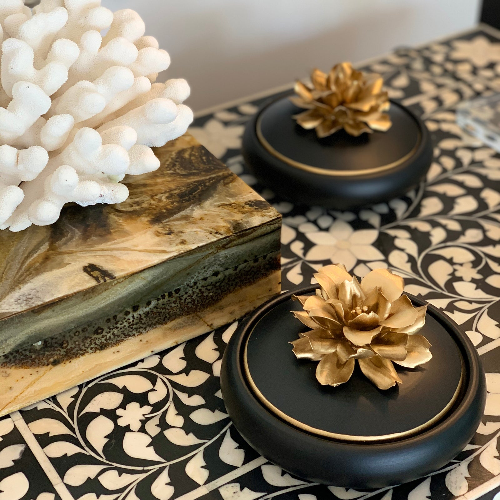 Handcrafted Ceramic Box w Porcelain Gold Flower