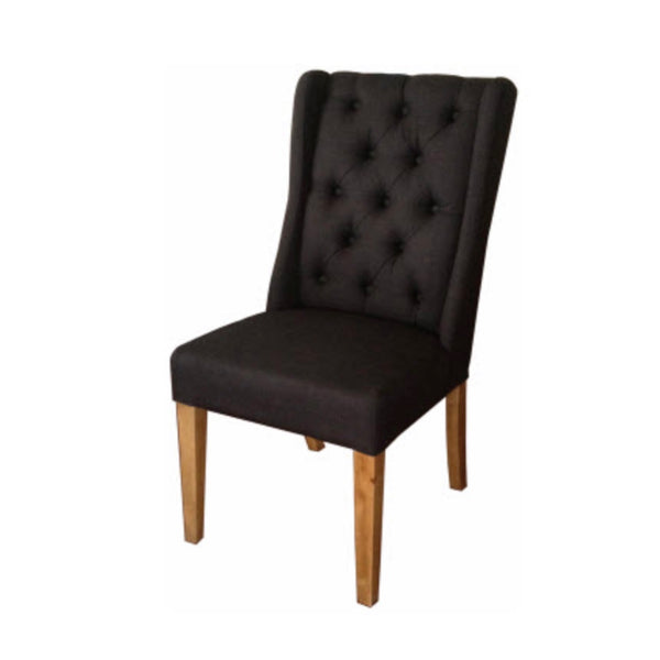 Buttoned Flax Dining Chair
