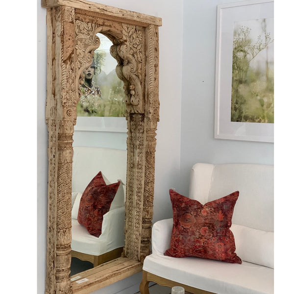 Carved Bleached Vintage Mirror