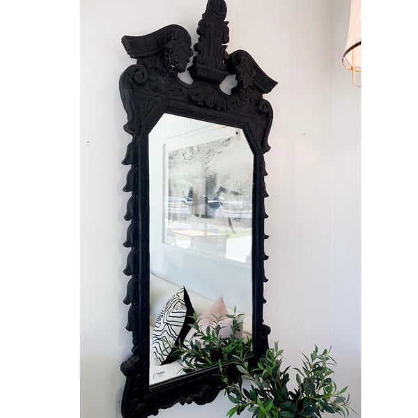 Late Baroque Indian Vintage Mirror Black
