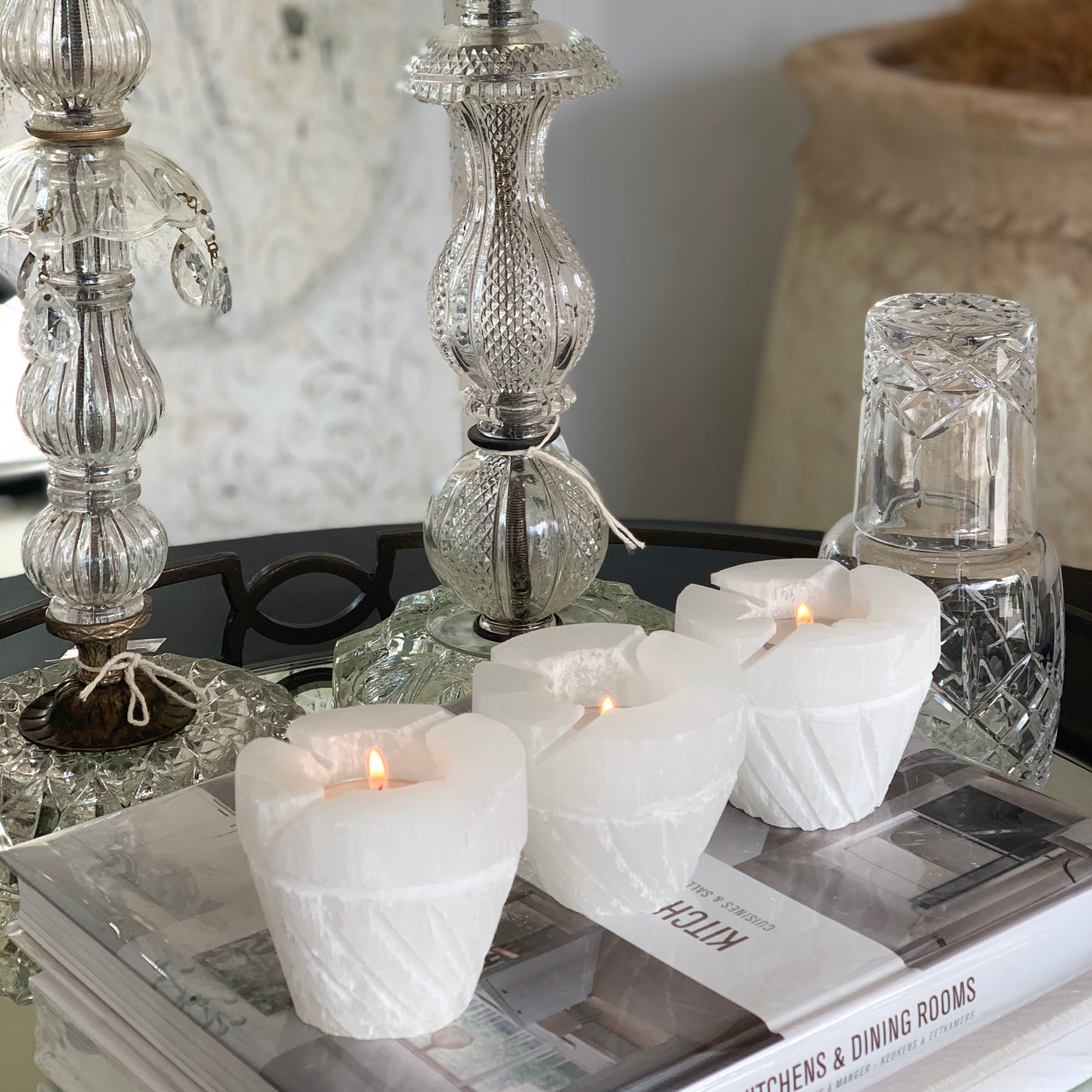Selenite White Flower Candle