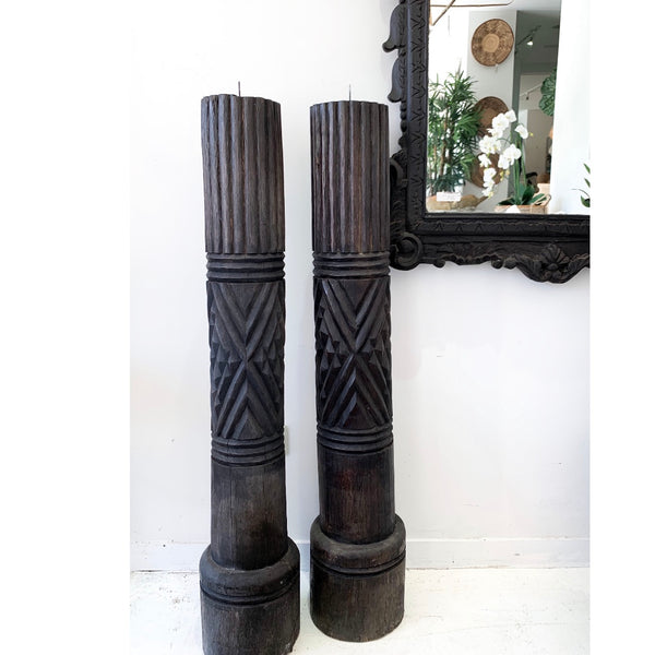 Carved Indian Pillar - Dark