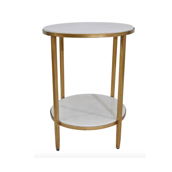 Gold Marble Two Tier Side Table