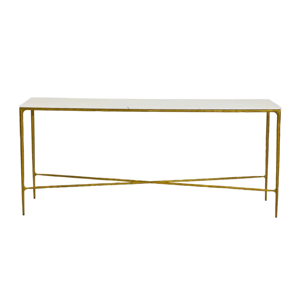 Hand Forged Iron Console  Brass