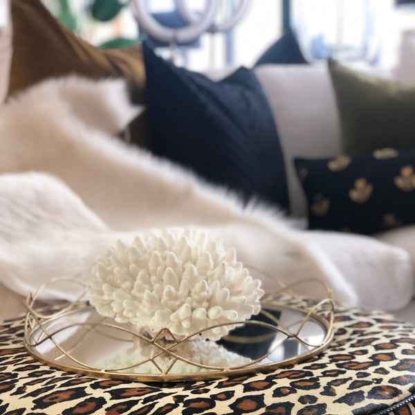 Round Gold Mirror Tray