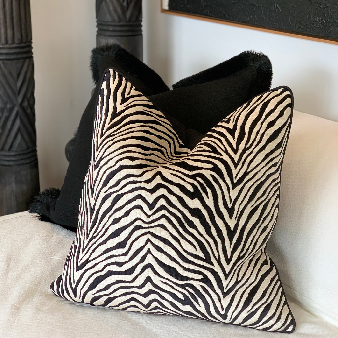 Turkish Cotton Velvet Zebra Cushion