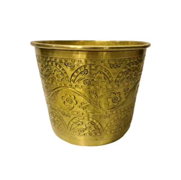 Brass Bowl With Flower Pattern