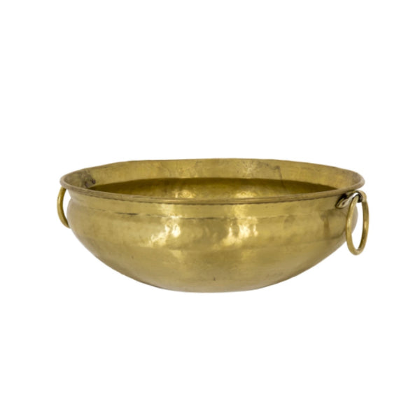 Large Brass Bowl W Handles