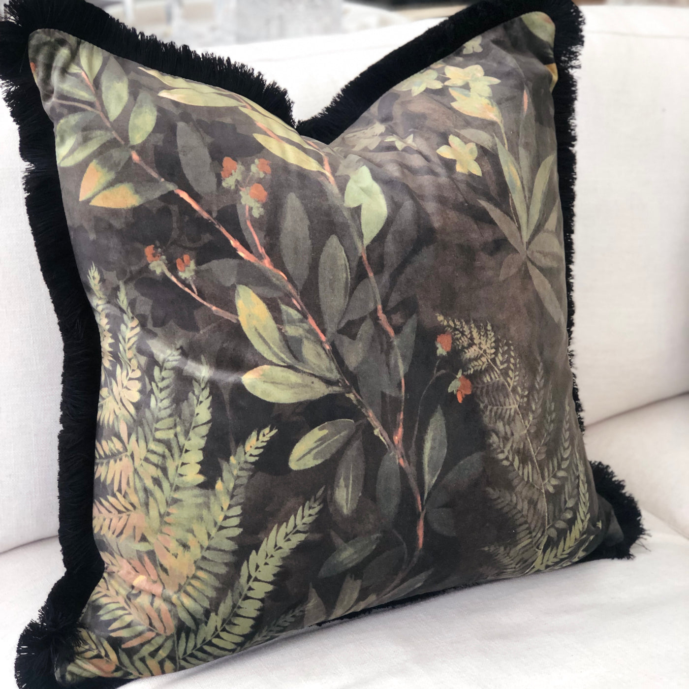 Jungle Cushion with Fringe 60x60