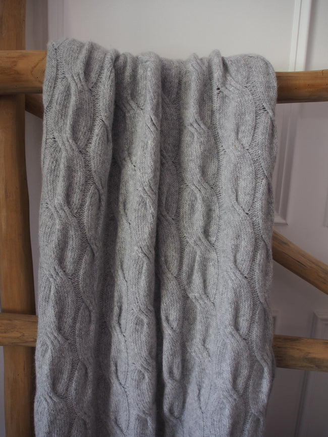 Chunky Angora Cable Throw