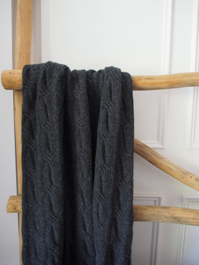 Chunky Angora Cable Throw Charcoal