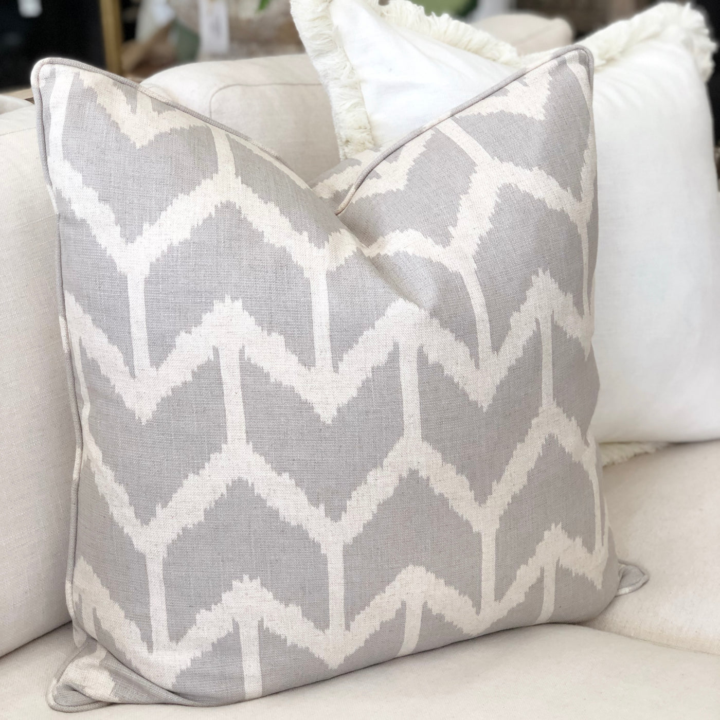 Grey and White Herringbone Print Cushion